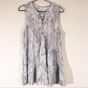 Floreat Printed Sleeveless Lace Up Top